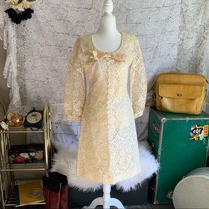 Vintage 1960s Lace Midi Wedding Style Dress